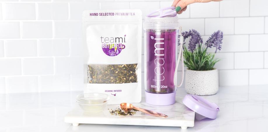 Teami Butterfly Tea In A Lavender Tea Tumbler